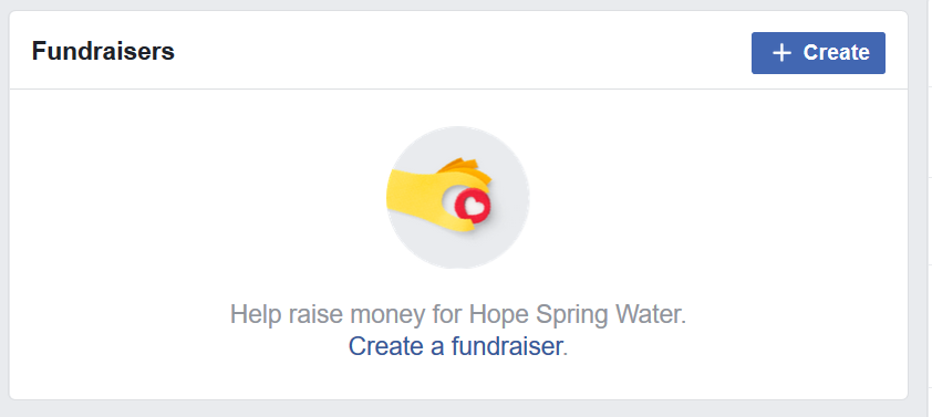 Create Facebook fundraising page for Hope Spring Water